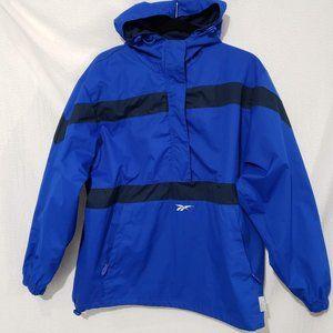 Vtg Reebok Athletic Blue 1/2 Zip Hooded Pullover